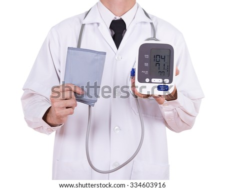 doctor with digital blood pressure monitor isolated on white background - stock photo