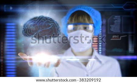 Doctor with futuristic hud screen tablet. Human brain xray. Medical concept of the future.