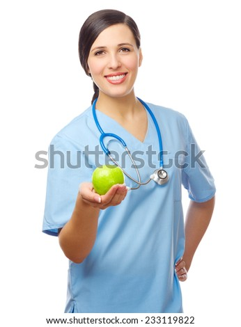 Doctor with green apple isolated - stock photo