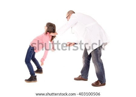 doctor with kid isolated in white background - stock photo
