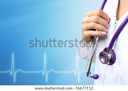 Doctor with medical blue background - stock photo