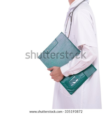 doctor with medical report isolated on white background - stock photo