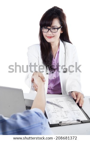 Doctor with patient isolated over white - stock photo