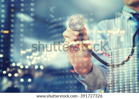 Doctor with stethoscope - stock photo