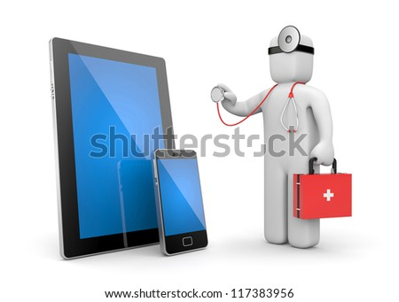 Doctor with stethoscope examine electronics - stock photo