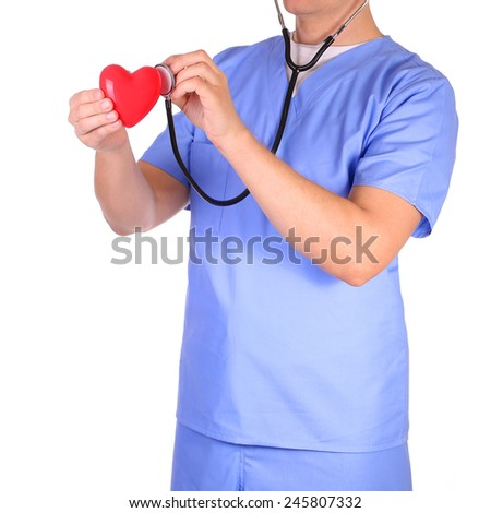 Doctor with stethoscope examining red heart, isolated on white - stock photo