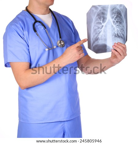 Doctor with stethoscope examining x-ray photos isolated on white - stock photo