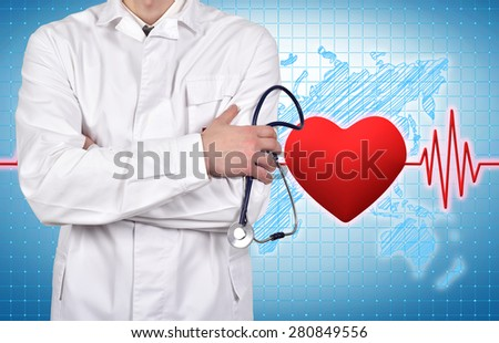 doctor with stethoscope, pulse and heart on background - stock photo