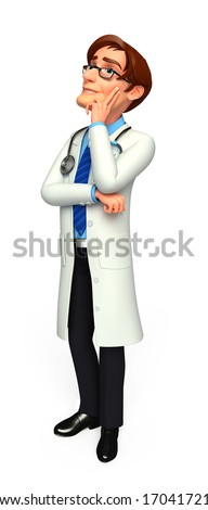 Doctor with thinking - stock photo