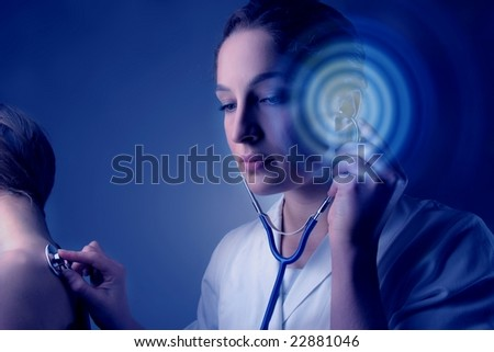 doctor woman and patient - stock photo