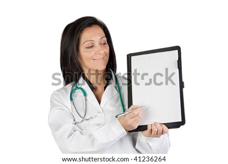 Doctor woman with blank clipboard on a over white background