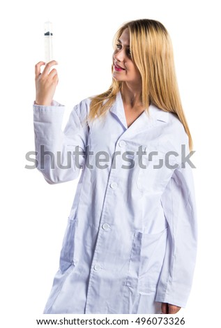 Doctor woman with syringe