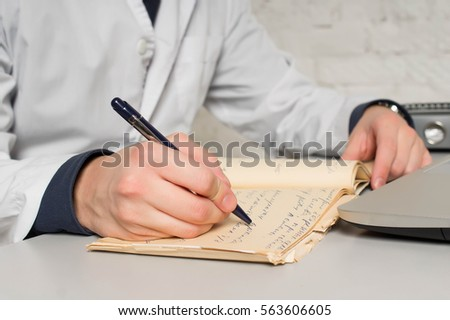 Doctor Working His Medical Office He Stock Photo 563606605 ...