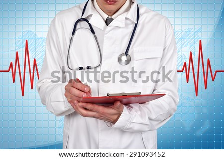 Doctor writes diagnosis in folder, close up - stock photo