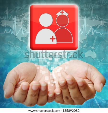 Doctors and Nurse icon on hand ,medical background - stock photo