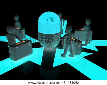 doctors around tablet on a black background. 3D illustration. Anaglyph. View with red/cyan glasses to see in 3D. - stock photo