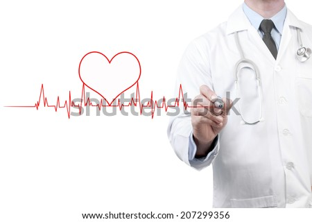 doctors drawing chart electrocadiogram (ECG) of heartbeat on virtual screen concept for medical diagnosis on white background - stock photo