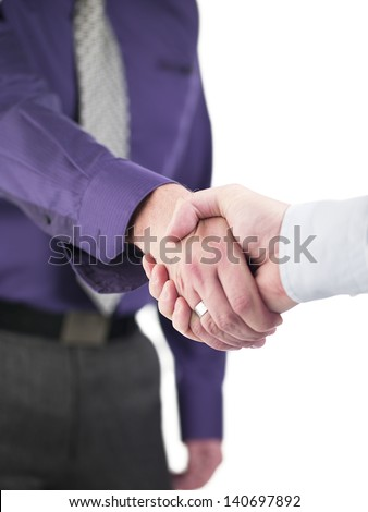 Doctors greeting eachother on success over white background, Model: Derek Gerhardt - stock photo