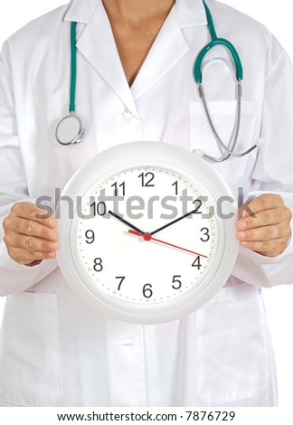 Doctors hands showing clock over white background