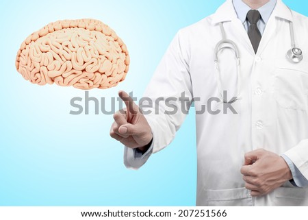 doctors pointing brain diagnosis concept for medical   - stock photo