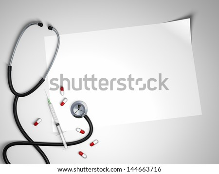 Doctors table. Top view - stock photo
