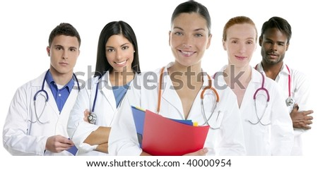 Doctors team group in a row on white background men and women doctor - stock photo