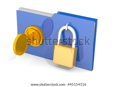 Document file key lock 3D rendering