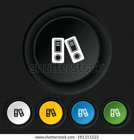 Document folder sign. Accounting binder symbol. Bookkeeping management. Round colourful buttons on black texture.