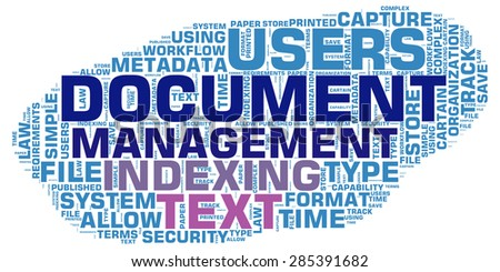 Document Management - blue word cloud isolated on white background