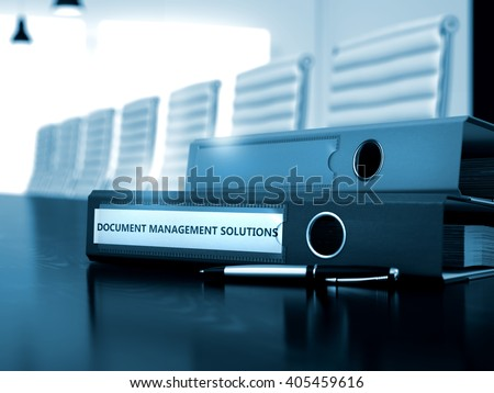 Document Management Solutions - Concept. Ring Binder with Inscription Document Management Solutions on Wooden Working Desktop. 3D Render. - stock photo