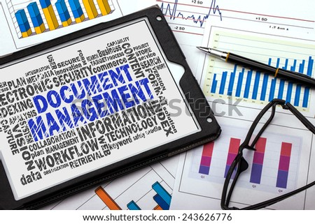 document management word cloud with related tags - stock photo
