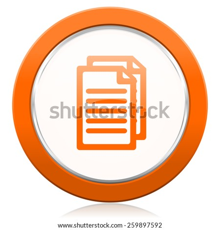 document orange icon pages sign  - stock photo