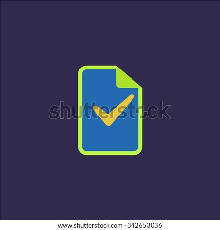 Document with check mark. Colorful retro flat icon - stock photo