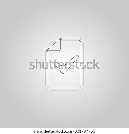 Document with check mark. Flat web icon or sign isolated on grey background. Collection modern trend concept design style  illustration symbol - stock photo
