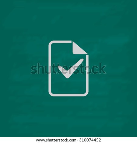 Document with check mark.  Icon. Imitation draw with white chalk on green chalkboard. Flat Pictogram and School board background. Illustration symbol - stock photo