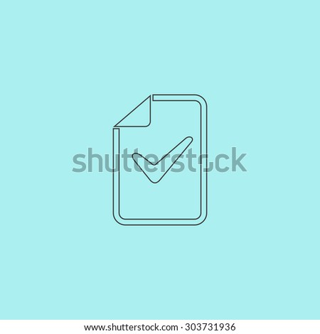 Document with check mark. Outline simple flat icon isolated on blue background - stock photo