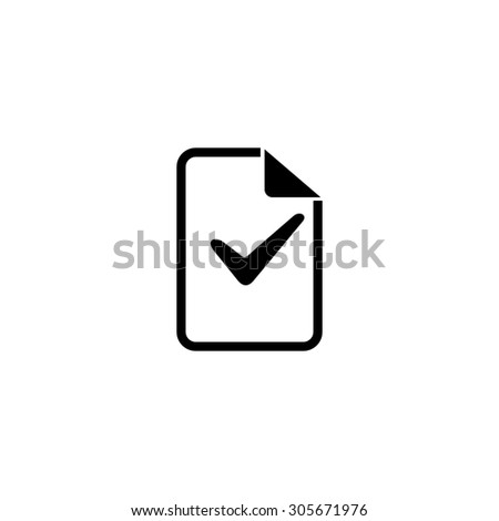Document with check mark. Simple black flat pictogram on white background - stock photo