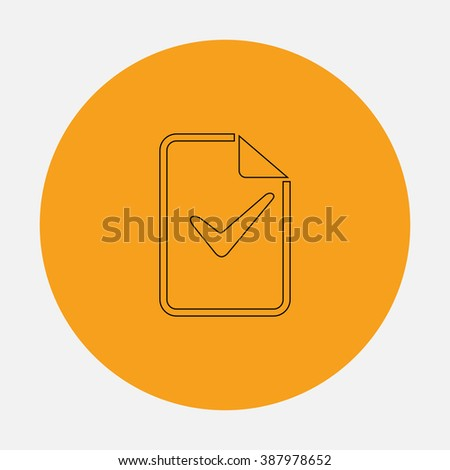 Document with check mark. Simple flat icon on orange circle - stock photo