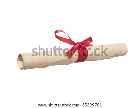 Document with red ribbon isolated