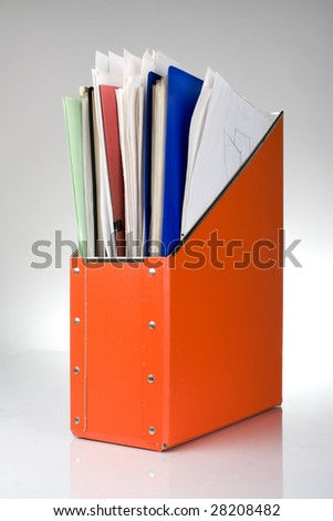 Documents folder with papers, reflection on white background - stock photo