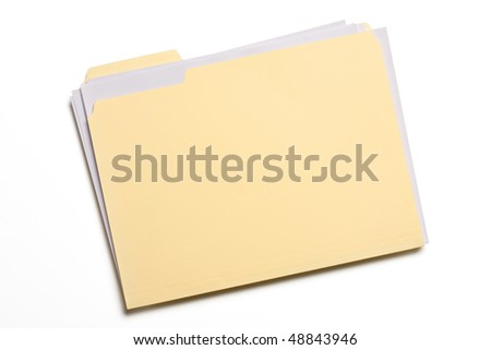 Documents stuffed in Manila folder isolated on white. - stock photo