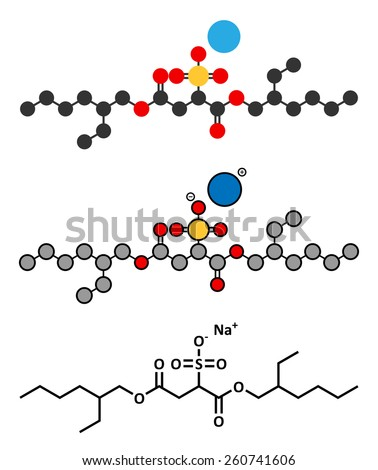 Docusate sodium (dioctyl sodium sulfosuccinate) stool softener drug molecule (laxative). Stylized 2D renderings and conventional skeletal formula.  - stock photo