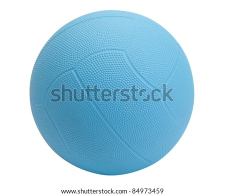 Dodgeball in blue color on white background - stock photo