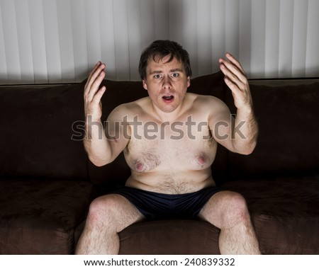 doesn't like the results of what was on TV. - stock photo