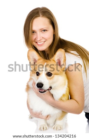 dog and girl. looking at camera. isolated on white background
