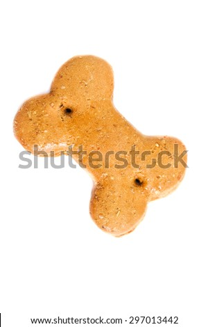 Dog Biscuit, Isolated on White Background, Selective Focus, Top View - stock photo
