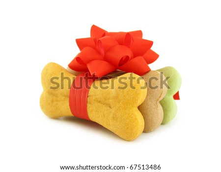 Dog biscuits bone shaped wrapped as gift - stock photo