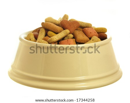 Dog biscuits in a china bowl