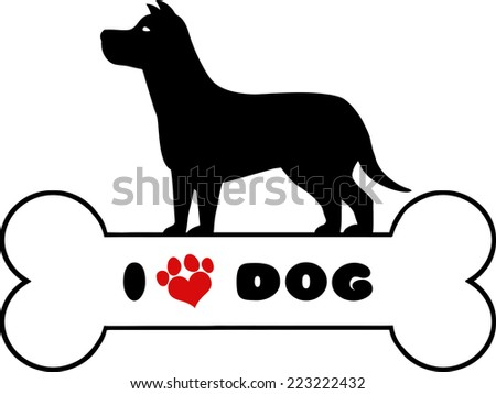 Dog Black Silhouette Over Bone With Text And Red Love Paw Print Raster Illustration Isolated On White Background - stock photo