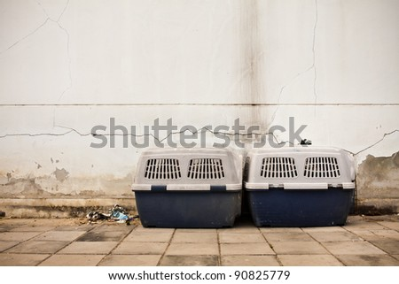 Dog Cages on A Pavement - stock photo
